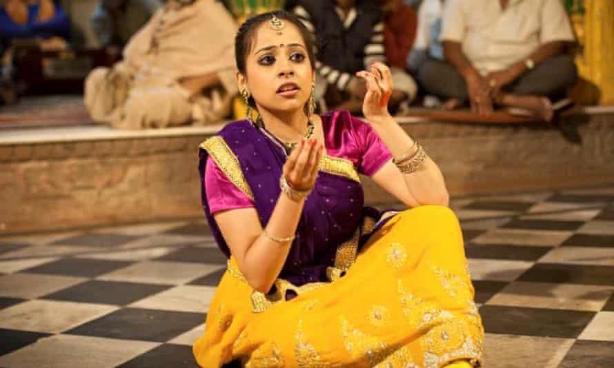 Janaki Mehta dancing in the Radharaman temple in Vrindavan, India.