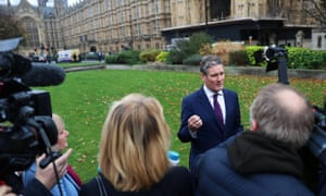 Keir Starmer speaking to the media outside the Houses of Parliament earlier this month.
