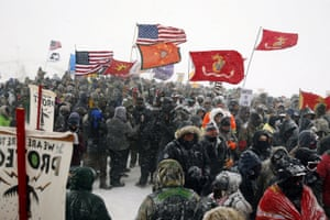 The demonstrators have been campaigning for months to stop the Dakota Access pipeline.