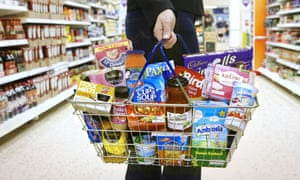 Shopping basket containing Premier Foods products