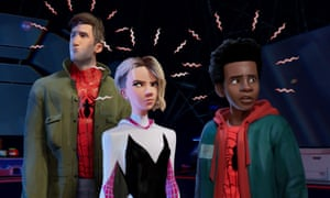 Peter Parker, Gwen Stacy and Miles Morales in Spider-Man: Into the Spider-Verse.