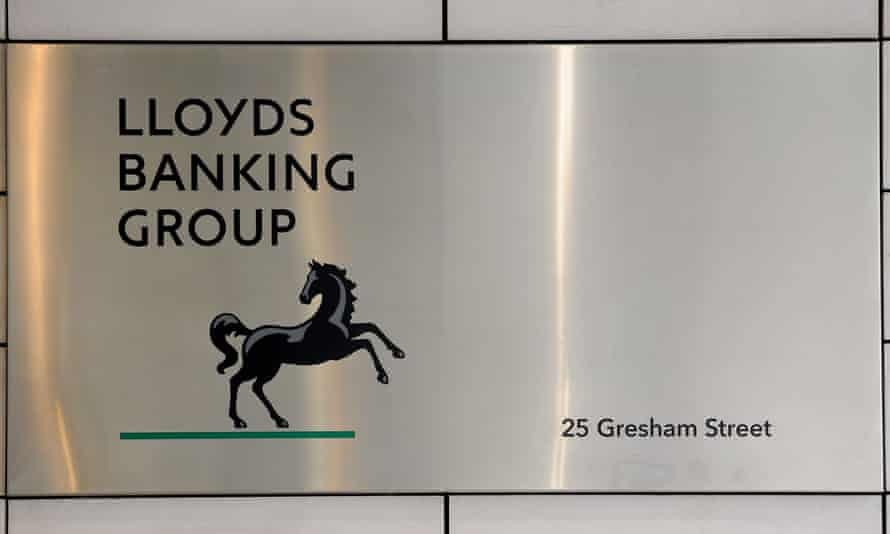 A sign outside Lloyds Banking Group headquarters in London.