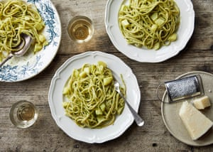 Rachel Roddy's inguine with courgette, basil and almond pesto.