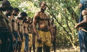 Malachi Kirby as Kunta Kinte in Roots.
