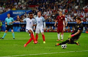 Akinfeev spreads himself to save from Raheem Sterling who is offside anyway.