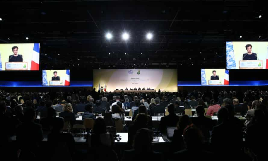 Christiana Figueres, UN climate chief, addresses delegates from 195 countries at the COP21 conference in Paris.