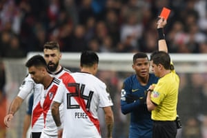 Referee Andres Ismael Cunha Soca shows Barrios Red.