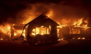 Flames from the Hillside fire consume a home in San Bernardino on Thursday, 31 October 2019.