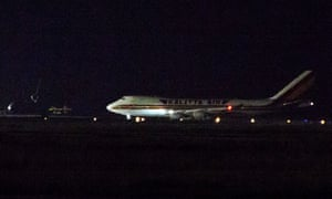 A plane carrying some of the American passengers arrives at Travis air force base in California