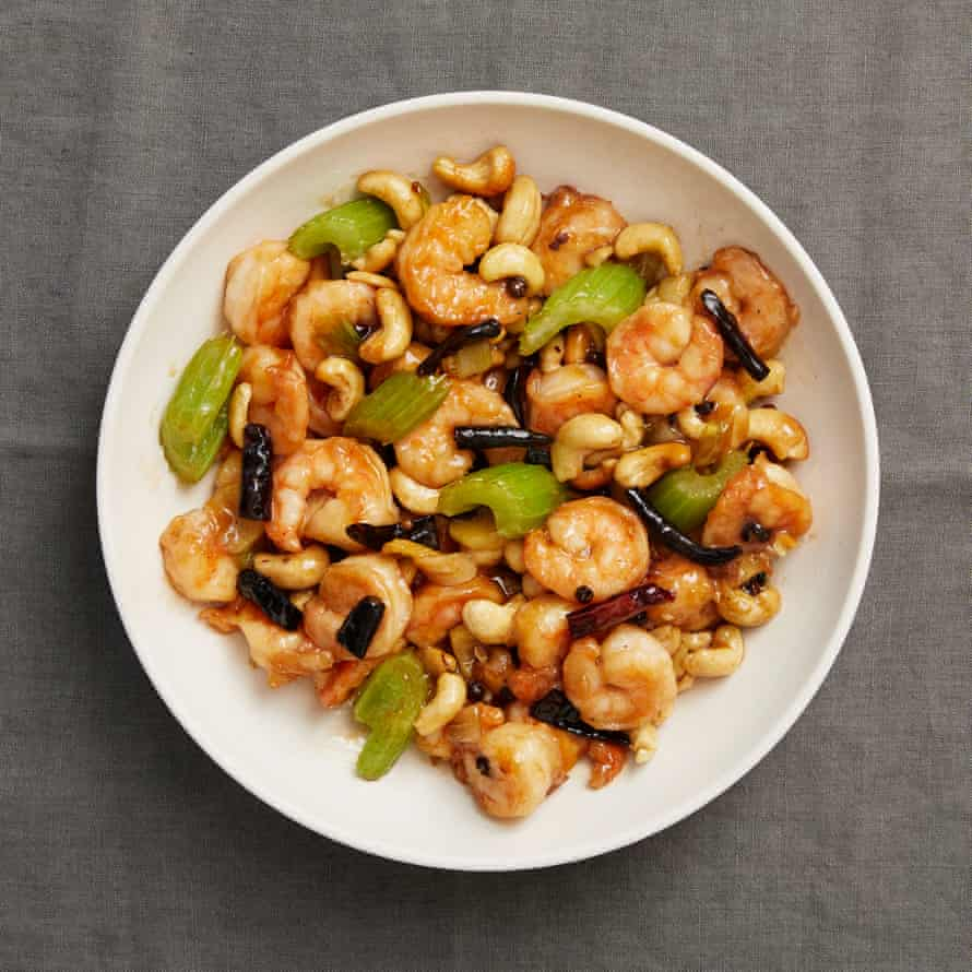 Fuchsia Dunlop's Sichuan gong bao prawns with cashew nuts.