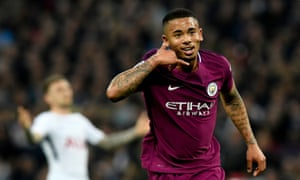 Manchester City's Gabriel Jesus celebrates after scoring the opening goal of the match.