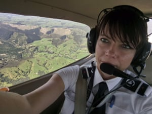 Victoria Bryan in the air over New Zealand