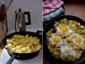 Simple comfort: Rachel Roddy's fried potatoes and eggs.
