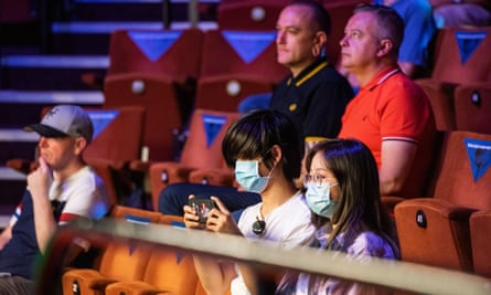 Fans watch on the one and only day crowds will be admitted at the Crucible.