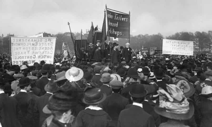 Keir Hardie addresses a tailors' rally in Hyde Park, London