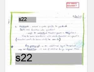 A bureaucrat's handwritten note from a telephone conversation with Josh Frydenberg's office dated 21 April 2017