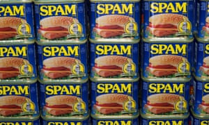Cans of Spam on display at the Spam Jam.