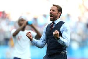 Gareth Southgate celebrates England's 6-1 win over Panama.