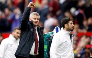 Ole Gunnar Solskjaer celebrates Manchester United's 4-0 win over Chelsea.