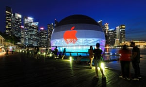 The new Apple flagship store in Singapore, which opened as the tech giant's value passed the $2tn mark.