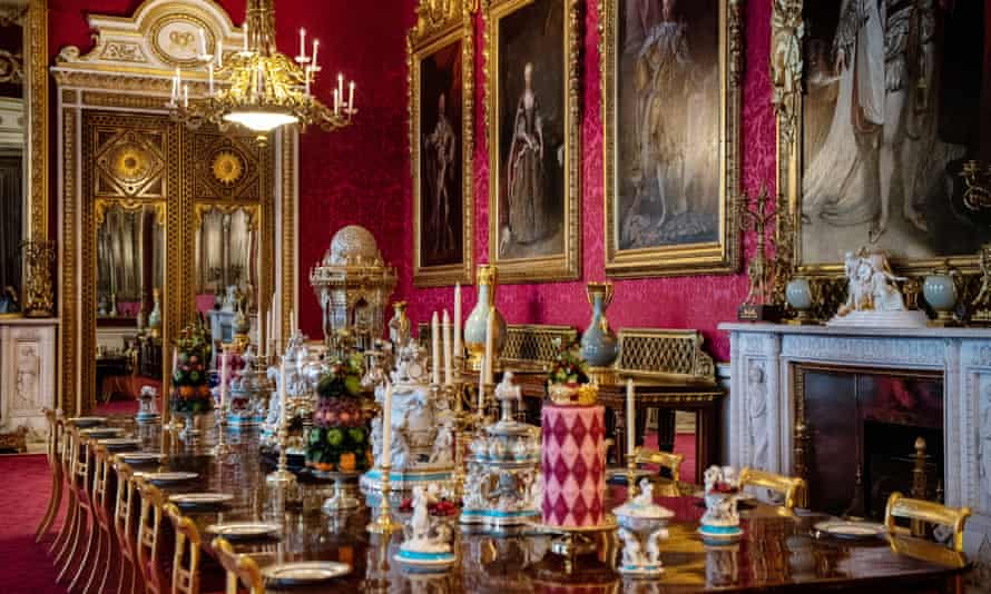 Recreation of a Victorian dinner in the state dining room at Buckingham Palace