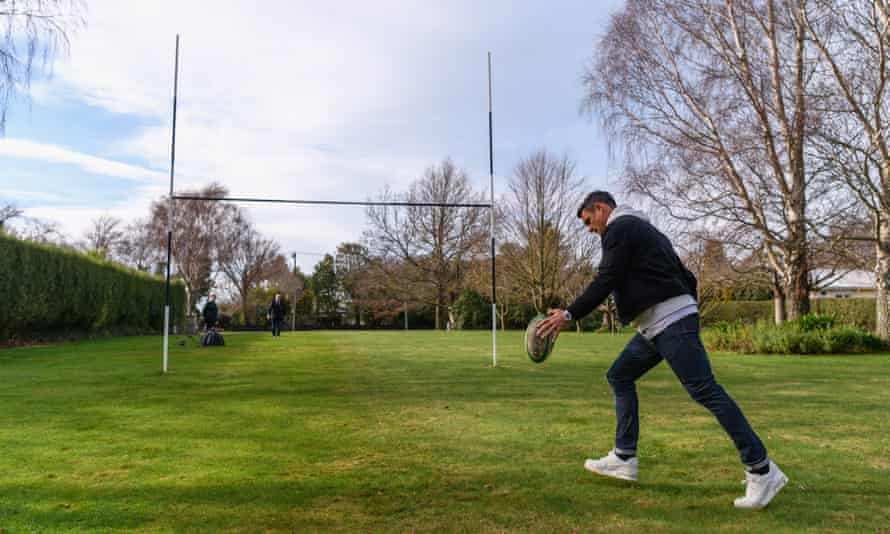Dan Carter in July 2020 kicks a ball at what had been his first goalposts at his family home in Southbridge, New Zealand