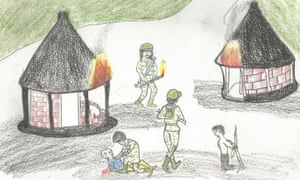 A drawing by a former child soldier of their village being attacked.