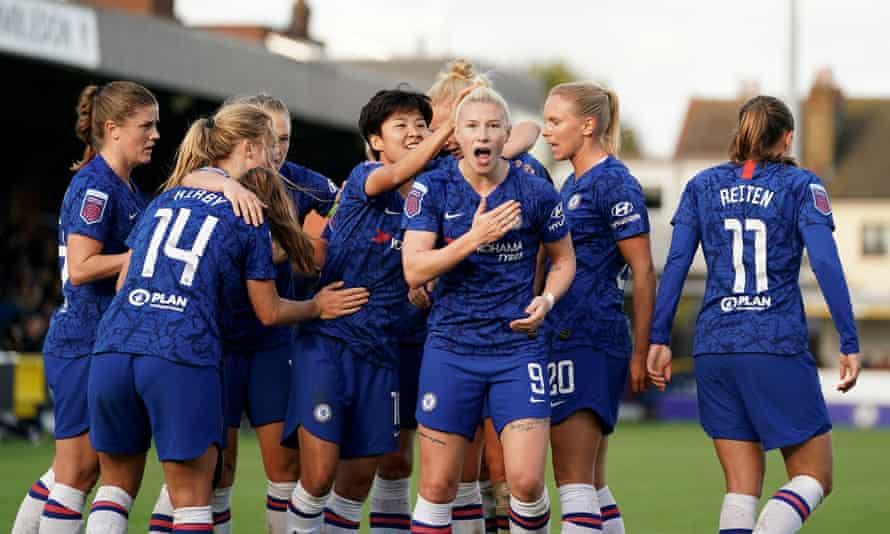 Bethany England celebrates scoring for Chelsea
