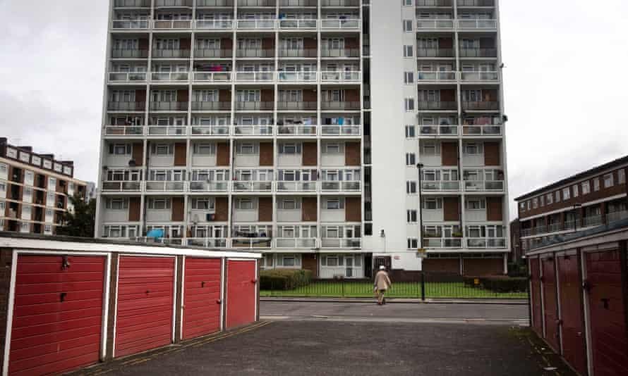A tower block in an area of Lambeth, south London.