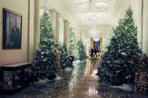 Christmas decorations are on display in the Grand Foyer at the White House on 2 December 2019 in Washington DC.