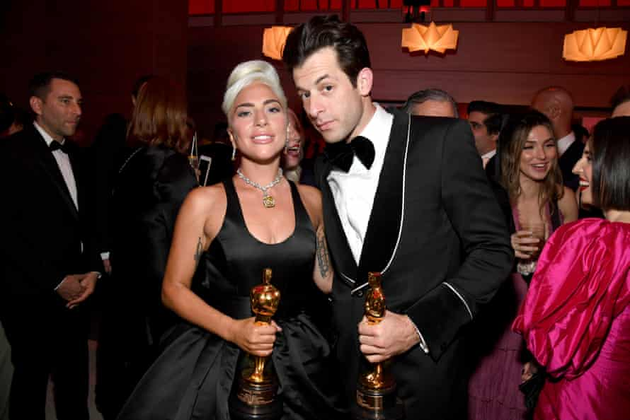 Mark Ronson and Lady Gaga with their Oscars for Shallow, from A Star Is Born