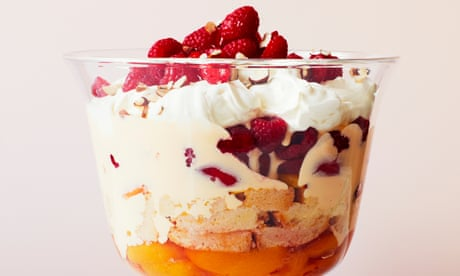 Thomasina Miers' recipe for peach and raspberry trifle