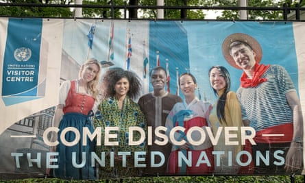 A banner welcomes visitors to the United Nations headquarters in New York.