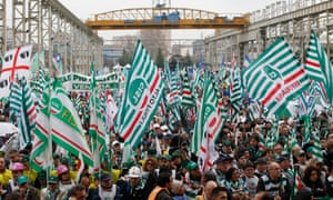 Workers attend a national union rally in Sesto San Giovanni in 2014.