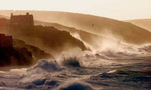 Rough seas pound Porthleven in Cornwall