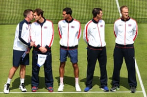 Captain Leon Smith, Andy Murray, James Ward, Jamie Murray and Dominic Inglot of Great Britain line up before the start at Queens Club.
