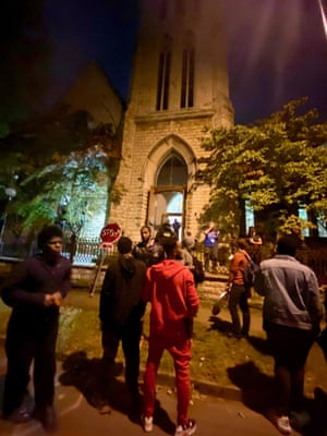 Louisville shortly after the 9:00pm curfew, showing the First Unitarian church where the protestors were guaranteed sanctuary by clergy, but then were virtually held hostage by police.
