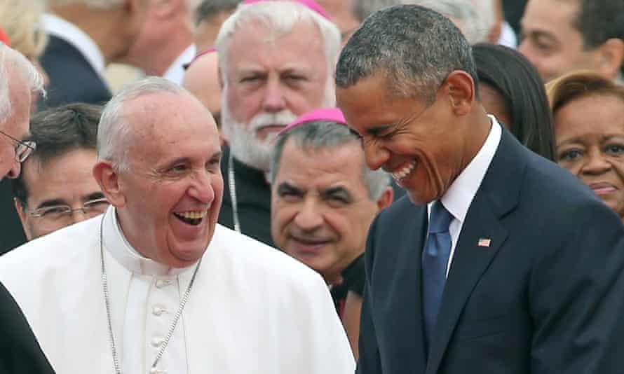 pope obama laughing