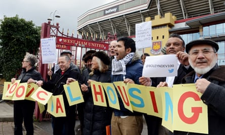 Campaigners protest about the sale of West Ham football ground for luxury flats rather than social housing