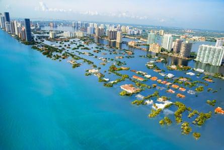 A potential scenario of future sea level rise in South Beach, Miami, Florida, USA.