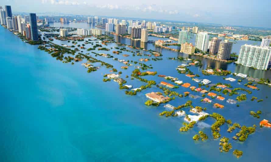 A potential scenario of future sea level rise in South Beach, Miami, Florida, with a global temperature rise of 2C.