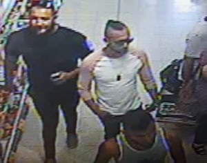 CCTV photo issued by West Mercia police of three men police are looking for in connection to the suspected acid attack on a three-year-old boy