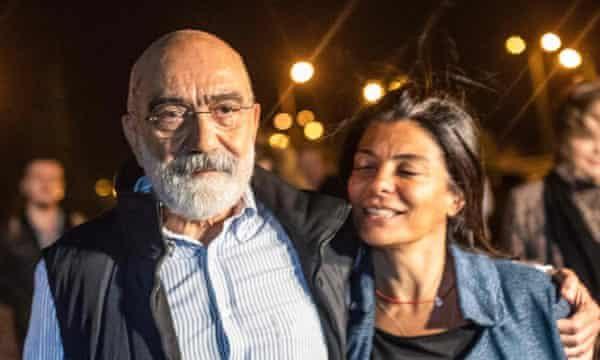 Ahmet Altan with his daughter after being released on 4 November 2019. He was rearrested on 12 November.