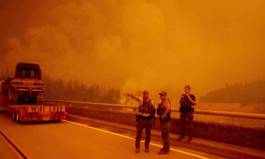 Law enforcement and fire personnel in Oroville, California on Wednesday.