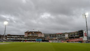 Play goes into on the evening with the floodlights on, under cloudy skies in the fourth One Day International between England and Sri Lanka at The Oval