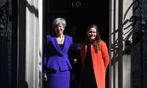 Theresa May with the prime minister of Iceland, Katrin Jakobsdottir, before their talks at Downing Street today.
