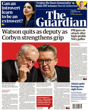 Guardian front page, Thursday 7 November 2019
