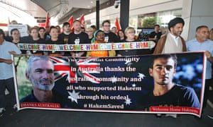 Supporters of Hakeem al-Araibi wait for his arrival at Melbourne airport on Tuesday.