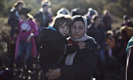 A Yazidi refugee and her child on the Greek island of Lesbos