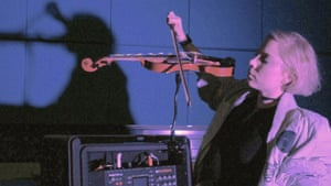 Musician Lia Mice plays her one-handed violin